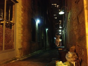 Seattle alley, Pioneer Square, J.C. O'Brien, Night Shift