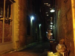 Seattle alley, Pioneer Square, J.C. O'Brien, Night Shift